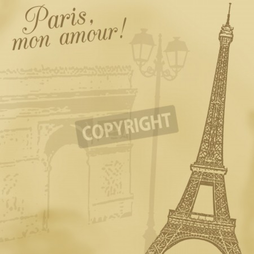 Bild-auf-Leinwand-034-A-background-with-Eiffel-tower-and-Arc-de-triomphe-in-re-034