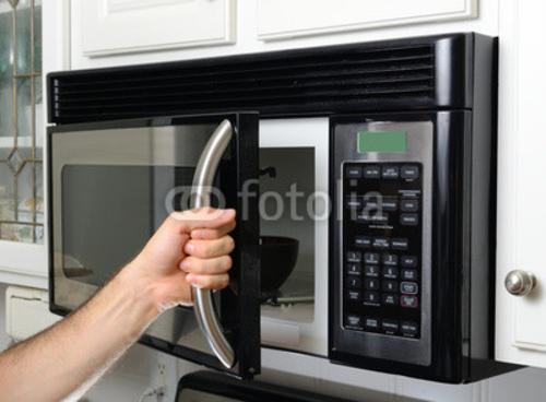 Bild auf Poster   Hand Opening Microwave