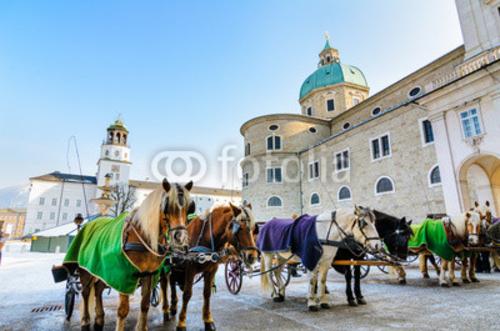 Bild auf Leinwand   Residenzplatz in Salzburg, Austria