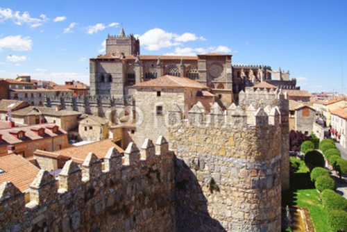 Bild auf Poster   Avila Cathedral from old Fortress Wand, Spain