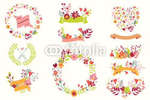 Bild auf Leinwand   Hand drawn vintage flowers and floral elements for holidays