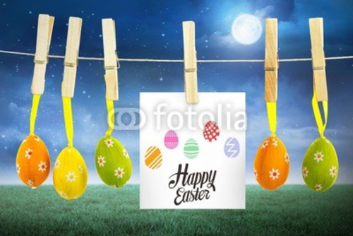 Bild auf Leinwand   Composite image of happy easter graphic